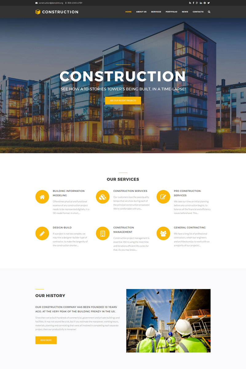 Drupal šablona Stavební společnosti