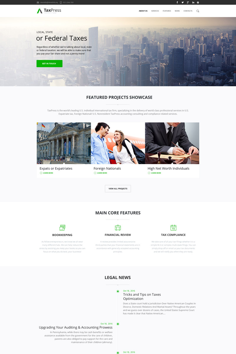 Tax advisor corporate business Drupal Template