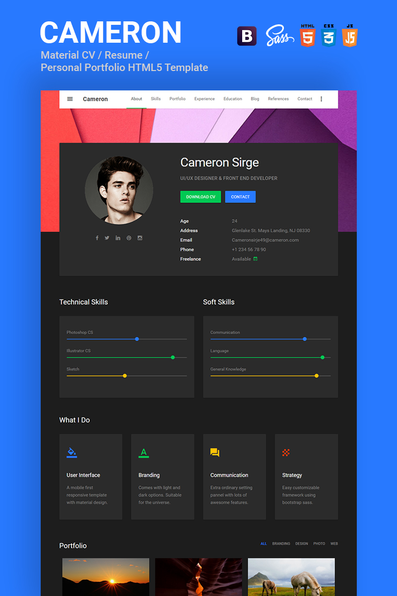 cameron material cv resume vcard portfolio html template website template - Resume Web Template