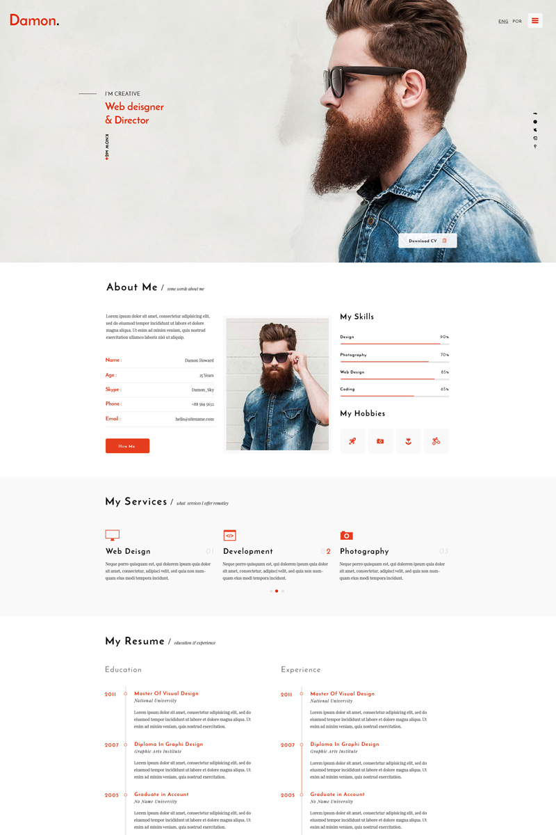 Damon - Resume HTML Template Big Screenshot