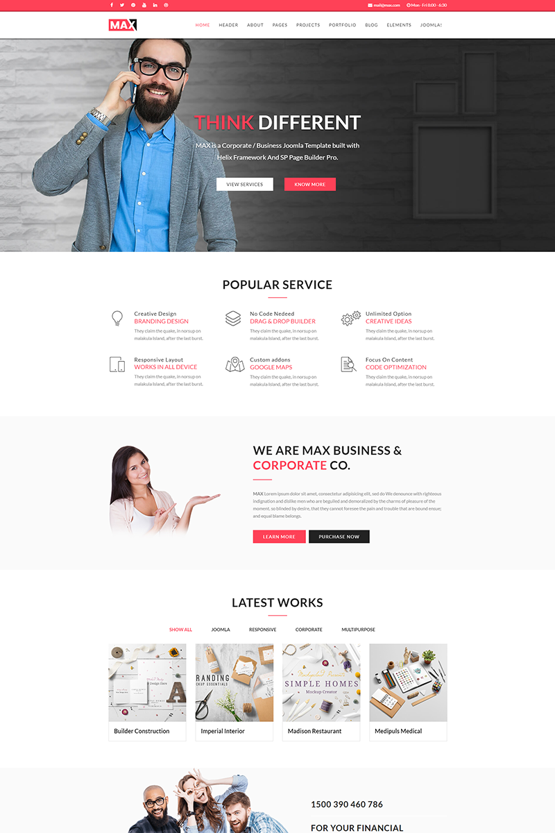 Max - Business Joomla Template Big Screenshot