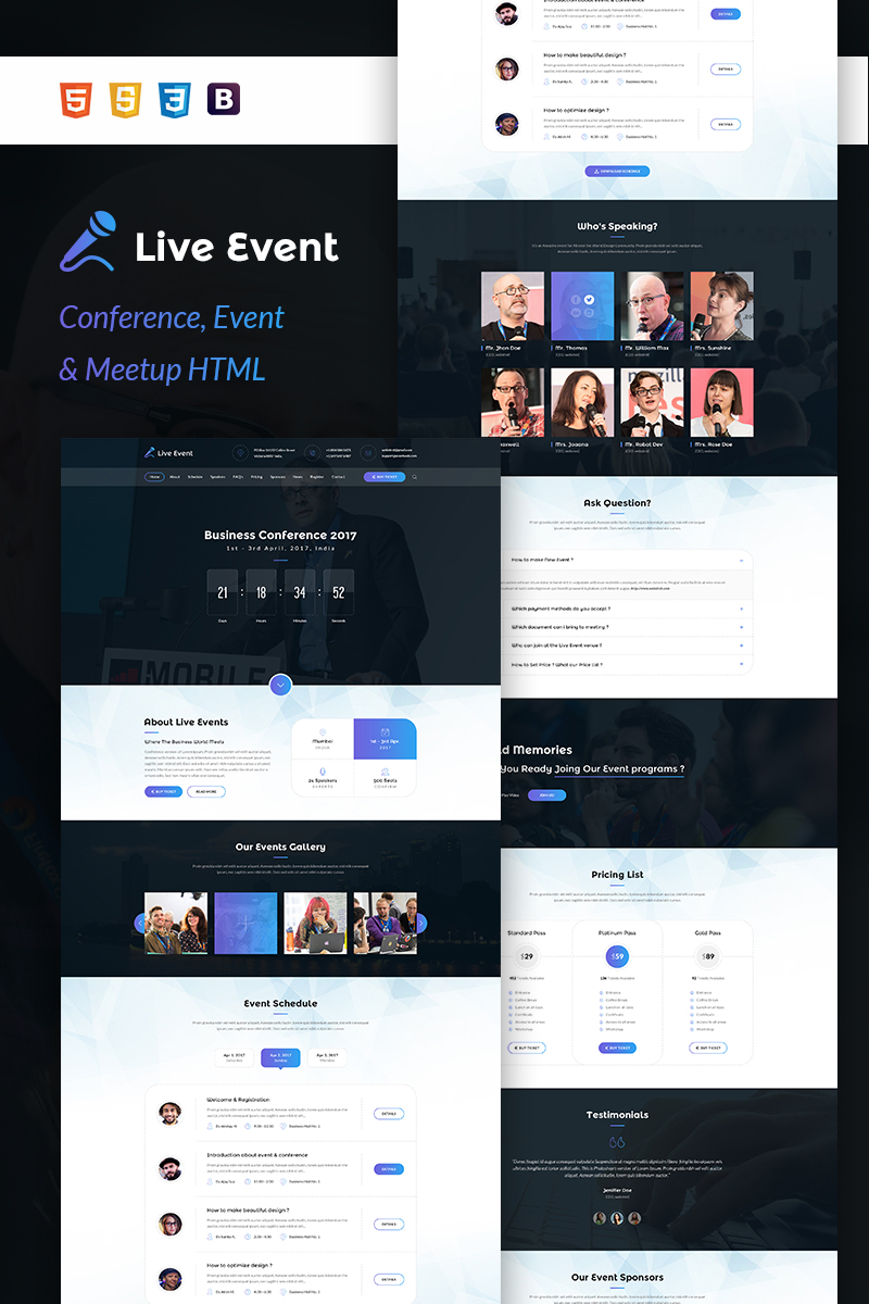 live event conference event meetup html template website template 64668. Black Bedroom Furniture Sets. Home Design Ideas