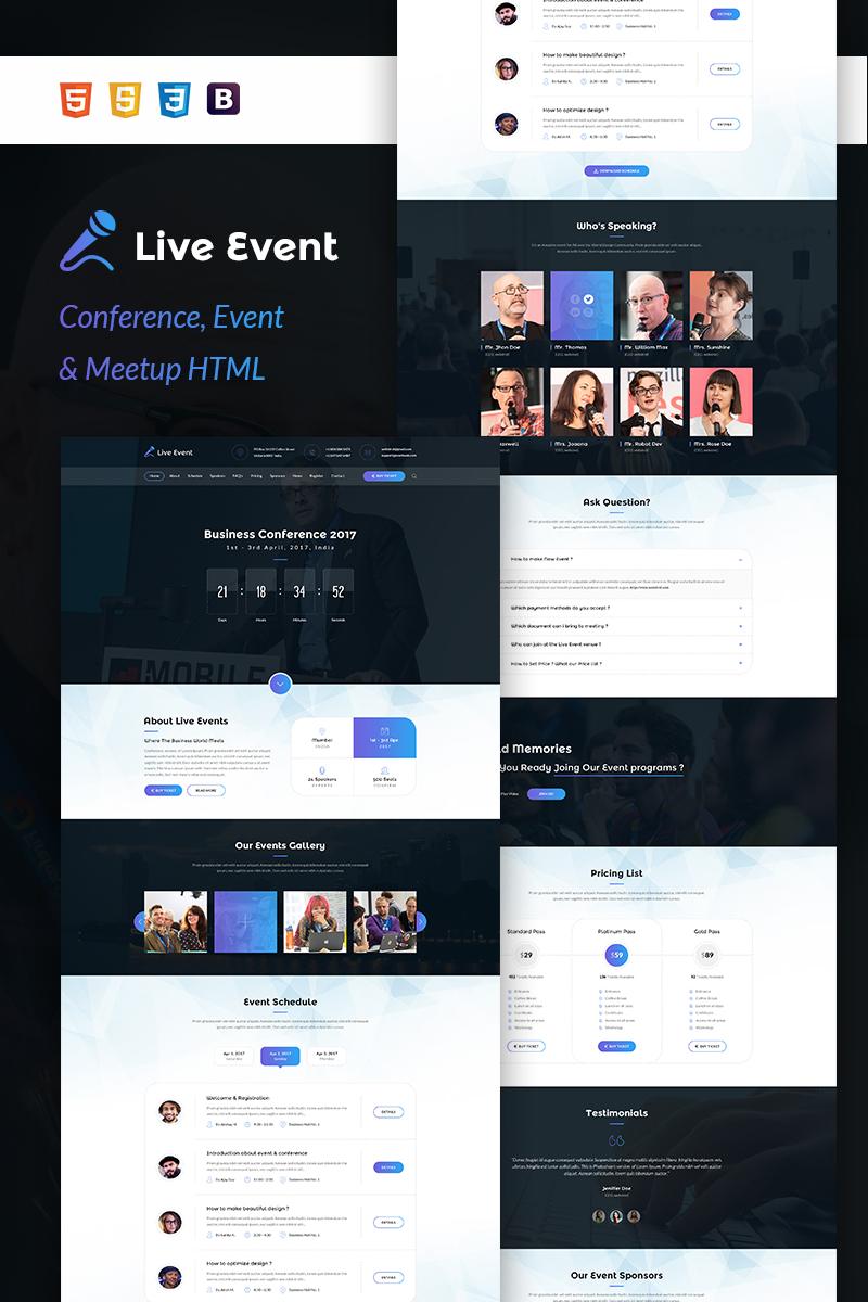 Responsivt Landing Page-mall för eventplanerare En stor skärmdump